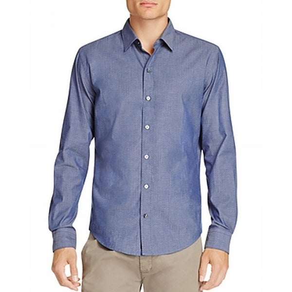 84eed17a Shop Hugo Boss NEW Blue Mens Size Medium M Sharp-Fit Button Down Shirt -  Free Shipping Today - Overstock - 19423192