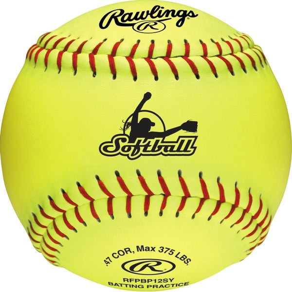 "Rawlings 12"" Batting Practice Fastpitch Softball (Dozen) Optic Yellow 12"