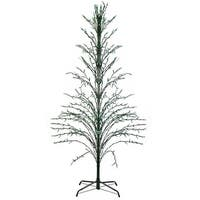 6' Green Lighted Christmas Cascade Twig Tree Outdoor Decoration - Green Lights