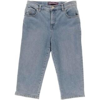 Gloria Vanderbilt Womens Petites Amanda Light Wash Denim Capri Jeans - 8P