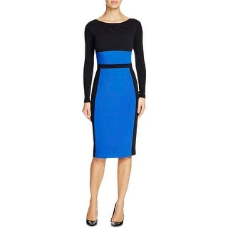 Black Halo Womens Liam Wear to Work Dress Mixed Media Colorblock