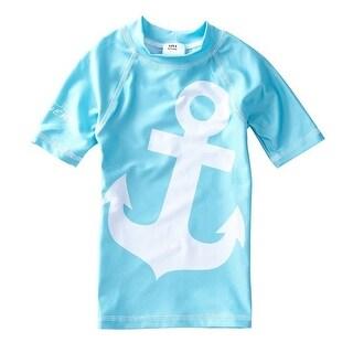 Azul Baby Boys Light Blue Contrast Anchor Print Trendy Rash Guard