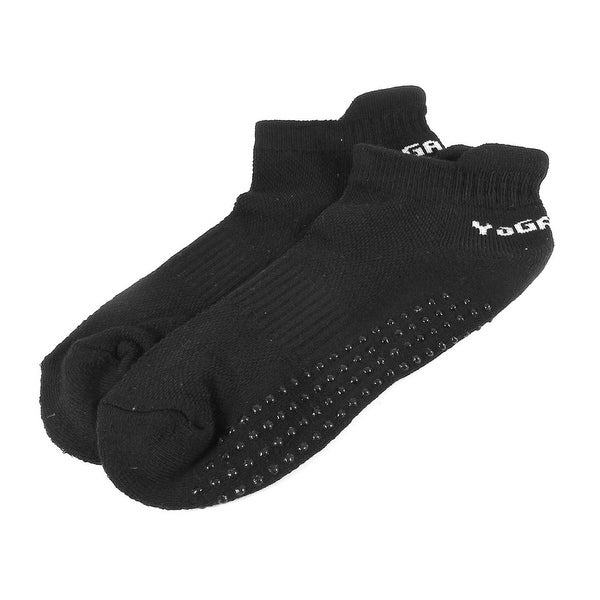 Unique Bargains Women's Black Non-slip Sports Exercise Low Cut Ankle Socks Pair