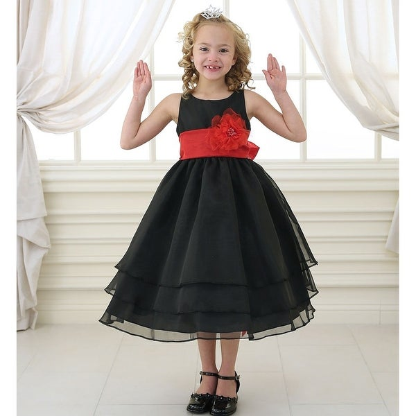 73a6156de86 Shop Little Girls Black Red Floral Sash Flower Girl Dress 2T-6 - Free  Shipping Today - Overstock - 18168077