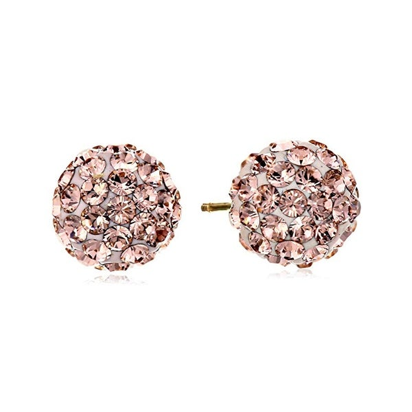 Crystaluxe Rose Ball Stud Earrings with Swarovski Crystals in 14K Gold - Pink