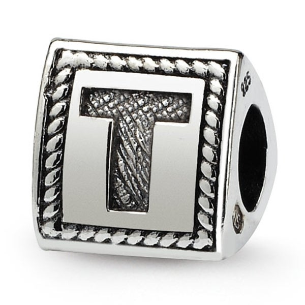 Sterling Silver Reflections Letter T Triangle Block Bead (4mm Diameter Hole)