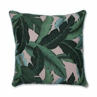 """25"""" Blue and Green Tropical Patterned Square Floor Pillow"""