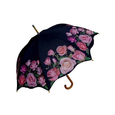"""Rainstoppers Unisex Adult Pink Rose 46"""" Auto Open Wood Hook Handle Umbrella - One Size"""