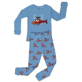 Elowel Boys Blue Helicopter Long Sleeve Cotton 2 Pc Pajama Set
