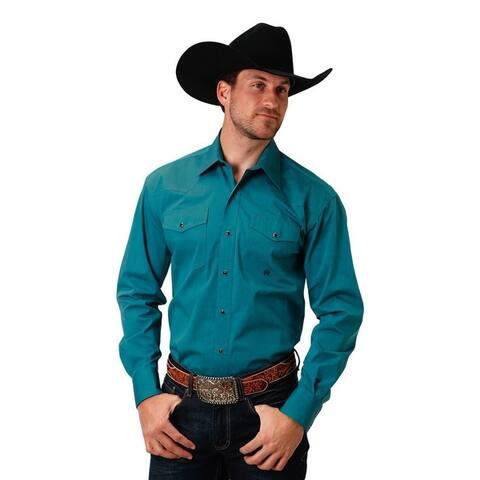 Roper Western Shirt Mens Long Sleeve Snap Green