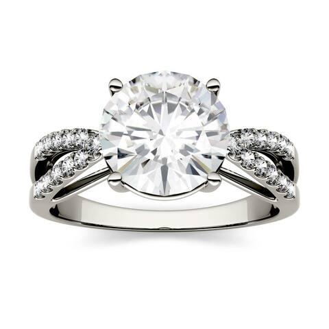 14k Gold 2.92ct Moissanite Split Shank Engagement Ring