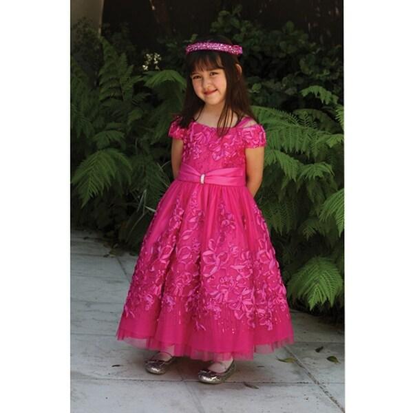 8165af1088b Shop Angels Garment Fuchsia Tulle Ribbon Sequin Flower Girl Dress 2T ...