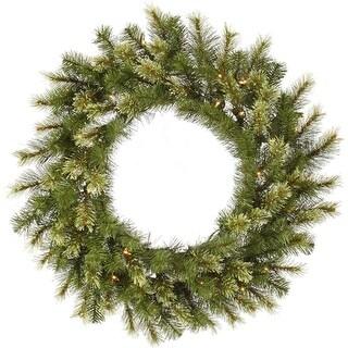 "30"" Pre-Lit Jack Pine Artificial Christmas Wreath - Warm Clear LED Lights"