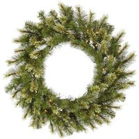 "36"" Pre-Lit Jack Pine Artificial Christmas Wreath - Warm Clear LED Lights - green"