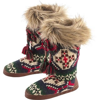 Legendary Whitetails Ladies Lodge Slipper Boots - Navy