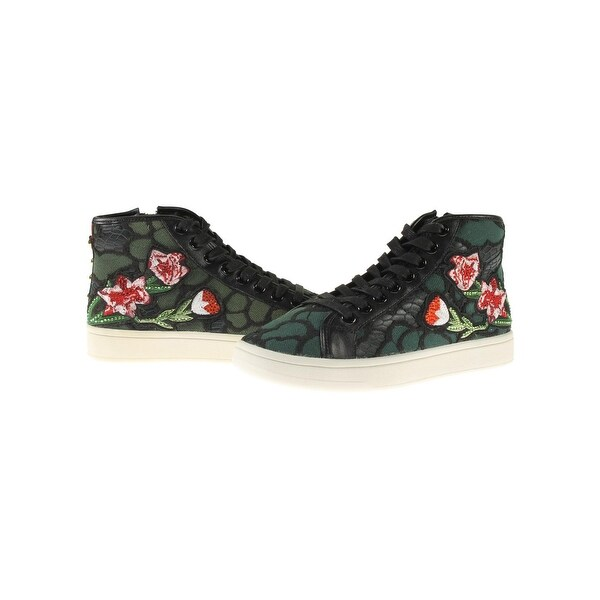 4022b5fe1ea Steve Madden Womens Allie Fashion Sneakers Faux Leather Embroidered