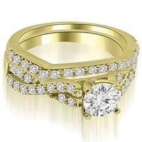 1.15 cttw. 14K Yellow Gold Twisted Split Shank Round Cut Diamond Bridal Set