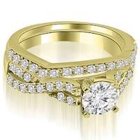 1.40 cttw. 14K Yellow Gold Twisted Split Shank Round Cut Diamond Bridal Sett,HI,SI1-2