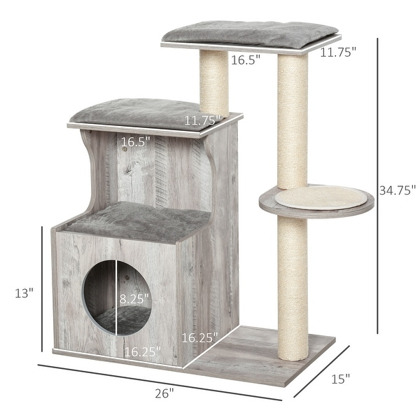 """PawHut Cat Tree Climbing Activity Center with Scratching Post Condo Perch Cushions 34.75"""" H, Grey"""
