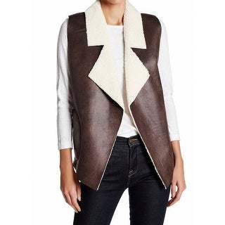 French Connection NEW Brown Women's Size Small S Winter Faux-Fur Vest