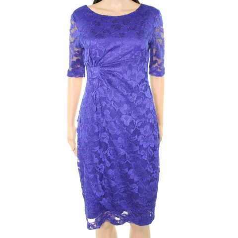Connected Apparel NEW Blue Womens 6P Petite Floral Lace Sheath Dress