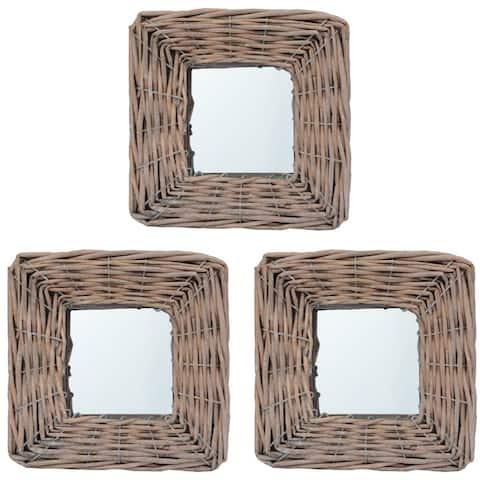 """vidaXL Mirrors 3 pcs 5.9""""x5.9"""" Wicker"""