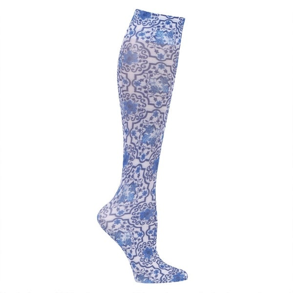 Printed Mild Compression Wide Calf Knee High Stockings - Women's - Blue Tile