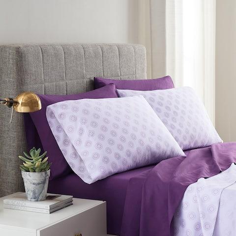 Lemon Tree Solid Purple and Purple Astrid Print 2 Pack Sheet Set