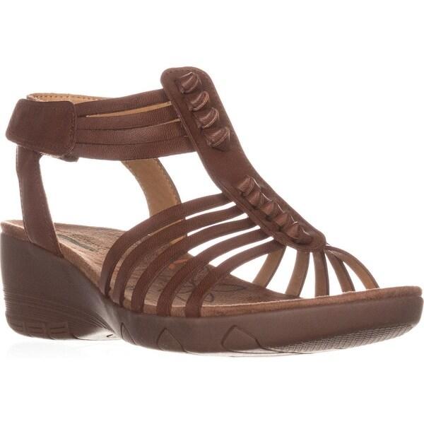 BareTraps Hinder T-Strap Wedge Sandals, Brown