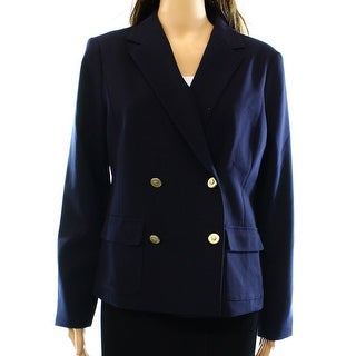 Charter Club NEW Blue Women's 8 Notch Collar Double-Breasted Blazer