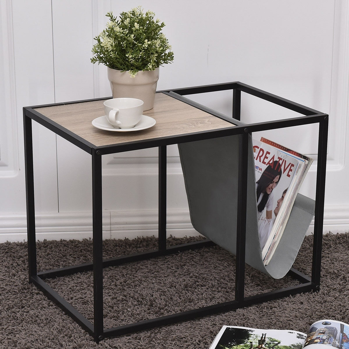 Gymax End Table Side Accent Metal