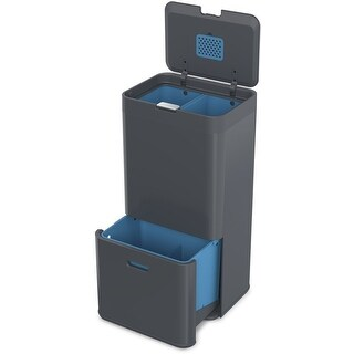 Joseph Joseph 30025 Intelligent Waste Totem Trash Can and Recycler Unit Garbage Can Recycling Bin, 15-gallon, Gray