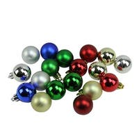 """18ct Traditionally Colored Shatterproof Shiny and Matte Christmas Ball Ornaments 1.25"""" (30mm)"""