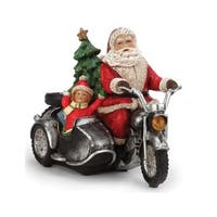 "11.5"" Battery Operated LED Lighted Santa on a Motorcycle Christmas Figure - multi"