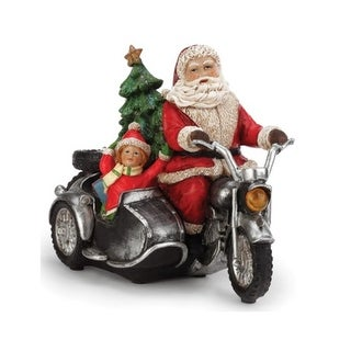 """11.5"""" Battery Operated LED Lighted Santa on a Motorcycle Christmas Figure - Multi"""
