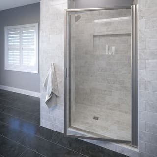 """Basco A001-5CL Deluxe 63-1/2"""" High x 29"""" Wide Pivot Framed Shower Door with Clear Glass