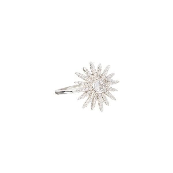 Cubic Zirconia & Sterling Silver Star Burst Ring