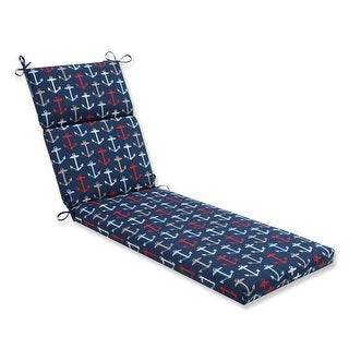 "72.5"" Blue and Red Navy Anchor Decorative Outdoor Patio Chaise Lounge Cushion"