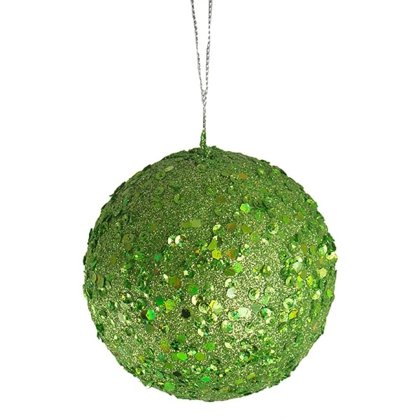 "Fancy Lime Green Holographic Glitter Drenched Christmas Ball Ornament 4"" (100mm)"