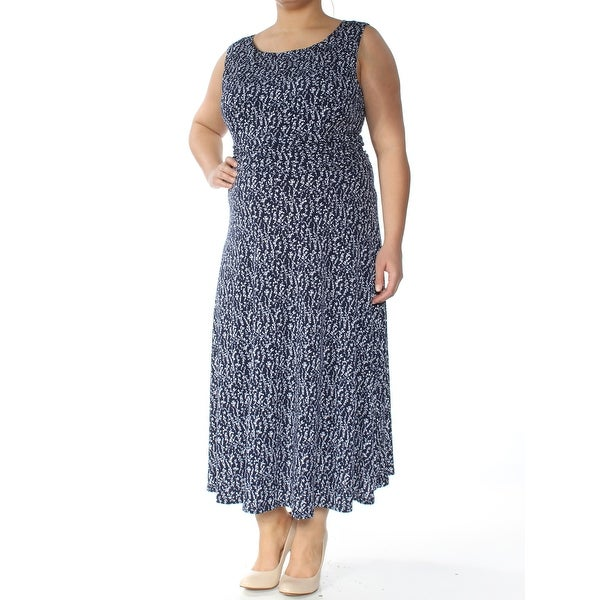 f22a9c72adae3 JESSICA HOWARD Womens Navy Floral Sleeveless Jewel Neck Maxi Shift Dress  Size: 16
