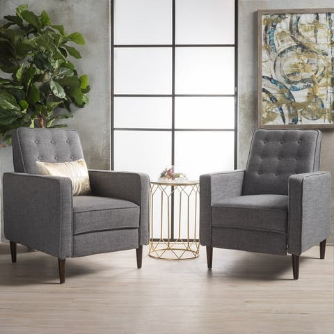Mervynn Mid-century Fabric Recliner Chairs (Set of 2) by Christopher Knight Home