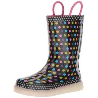 Kids Western Chief Girls LED Rainboot Rubber Mid-Calf Pull On Rain Boots