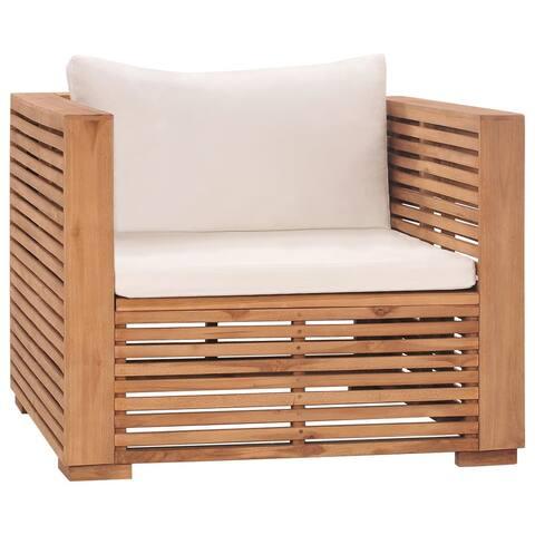 vidaXL Garden Sofa Chair with Cream Cushions Solid Teak Wood