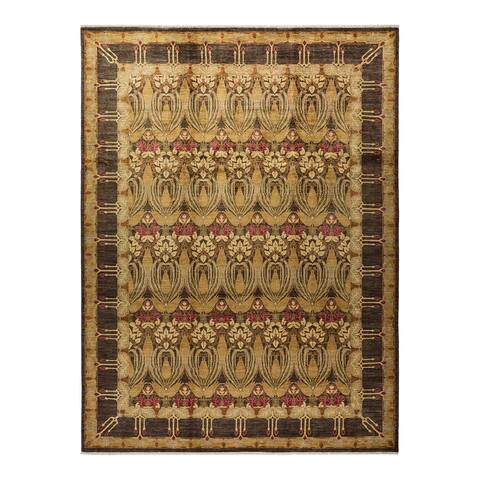 """Arts & Crafts, One-of-a-Kind Hand-Knotted Area Rug - Brown, 9' 0"""" x 12' 1"""" - 9' 0"""" x 12' 1"""""""