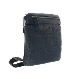 Versace EE1YOBB22 E240 Navy Blue Embossed Mens Messenger Bag - Navy Blue