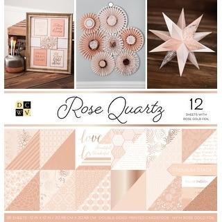 "Dcwv Double-Sided Paper Stack 12""X12"" 36/Pkg-Rose Quartz, 12 W/Rose Gold Foil"