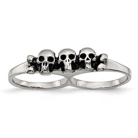 Chisel Stainless Steel Polished & Antiqued Two Finger Skulls Ring