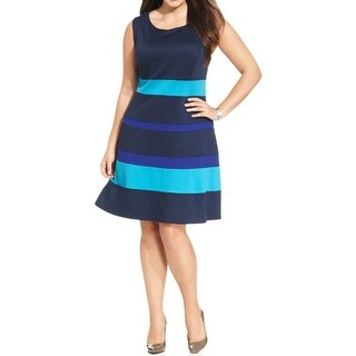 NY Collection Womens Plus Wear to Work Dress Striped Sleeveless