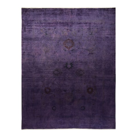 """Vibrance, One-of-a-Kind Hand-Knotted Area Rug - Purple, 8' 10"""" x 11' 5"""" - 8' 10"""" x 11' 5"""""""
