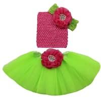 Girls Hot Pink Lime Pearl Flower Tutu Korker Bow Headband Gift Set 0-8Y